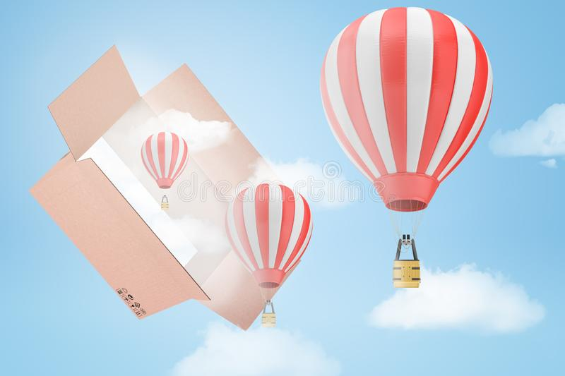 3d rendering of three striped hot-air balloons and several white clouds flying out of a big cardboard box in the blue. Sky. Think outside of box. Make new stock photos