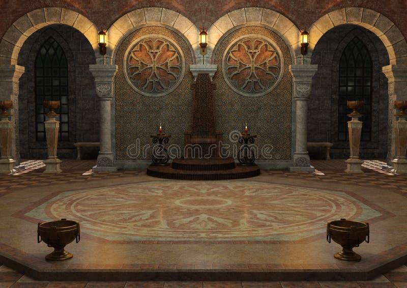 3D Rendering Throne Room. 3D rendering of a dark fairy tale throne room royalty free stock image
