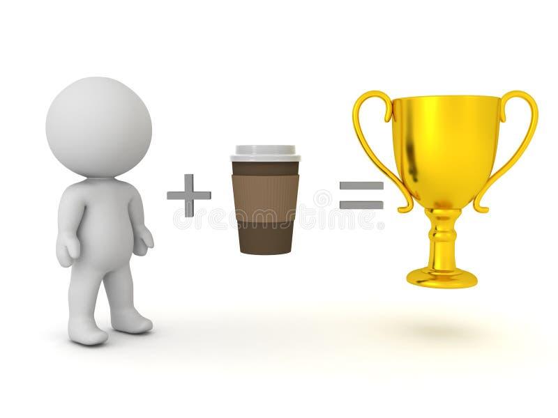 3D Rendering tonen dat het drinken van koffie tot succes leidt vector illustratie