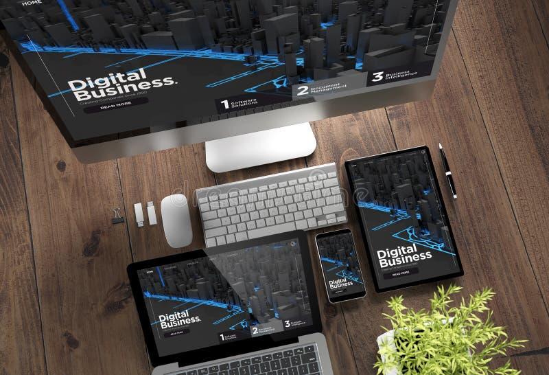 wooden desktop devices digital business vector illustration