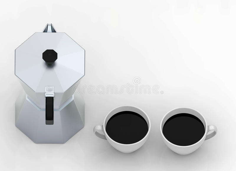 3d rendering. top view of two black coffee cups and coffee maker pot with copy space. On white floor royalty free illustration