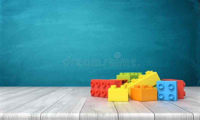 3d rendering of a toy building blocks lying in a colorful pile over a wooden desk on a blue background. royalty free illustration