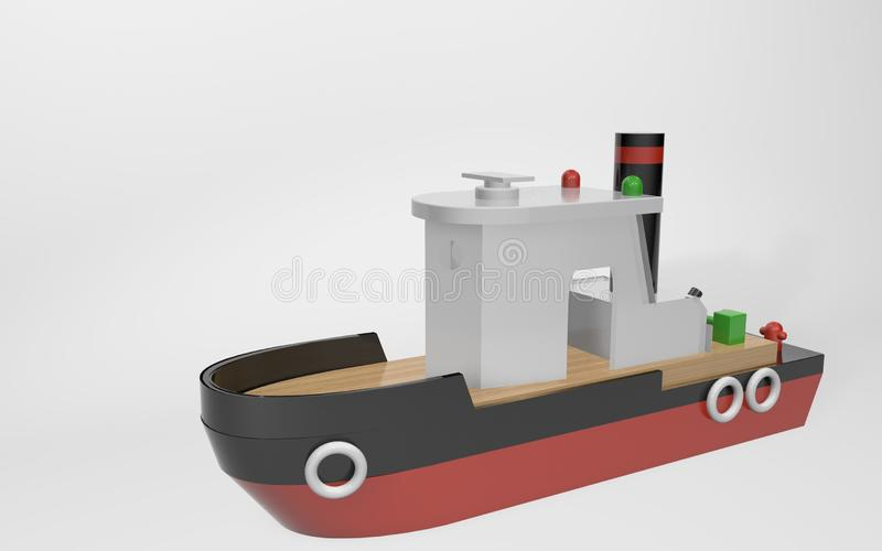 3D rendering. toy children`s towing boat made of wood stock illustration