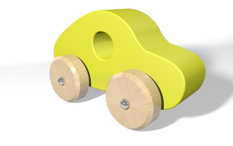 3d rendering toy wooden car royalty free illustration