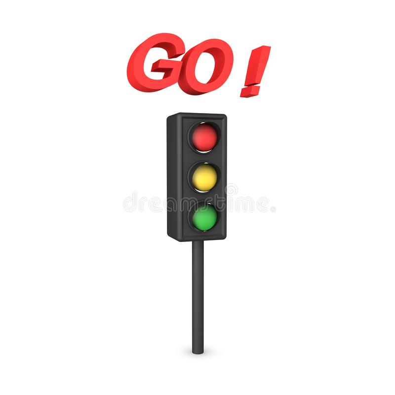 3D Rendering of traffic light with the word GO above. 3D Rendering isolated on white royalty free illustration