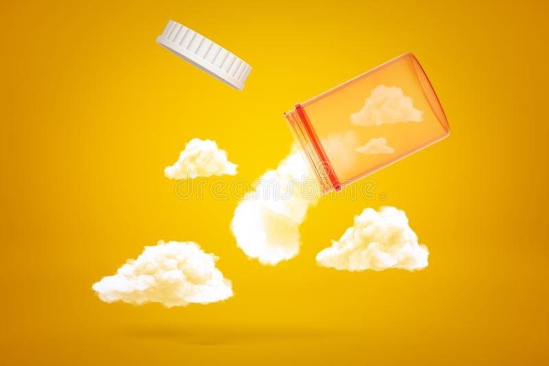 3d rendering of transparent orange medicine jar tilted down in air with white fluffy clouds emerging out of it on yellow stock illustration