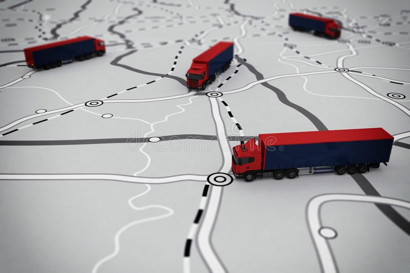 3D rendering of transport itinerary. With camion royalty free illustration