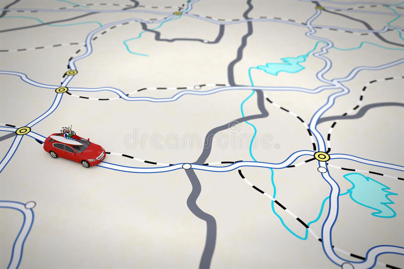 3D rendering of travel itinerary. With car vector illustration