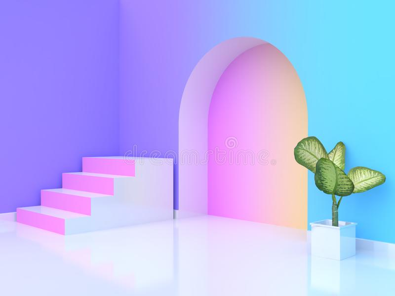 3d rendering tree pot abstract pink white staircase-stairway violet-purple blue yellow pink gradient wall-room. Tree pot abstract pink white staircase-stairway stock illustration