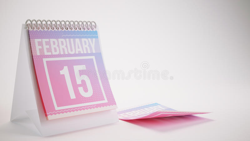 3D Rendering Trendy Colors Calendar on White Background - february 15 royalty free illustration