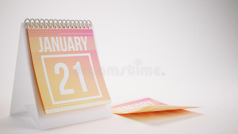 3D Rendering Trendy Colors Calendar on White Background - january 21 royalty free stock image