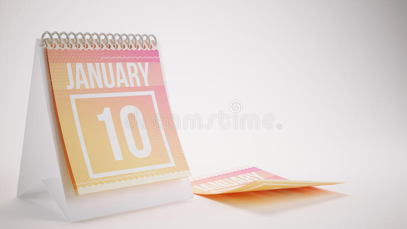 3D Rendering Trendy Colors Calendar on White Background - january 10 royalty free stock photos