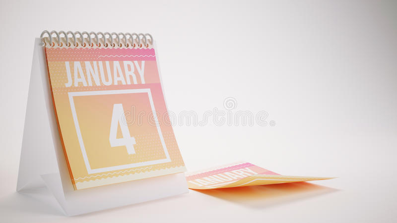 3D Rendering Trendy Colors Calendar on White Background - january 4 royalty free stock images