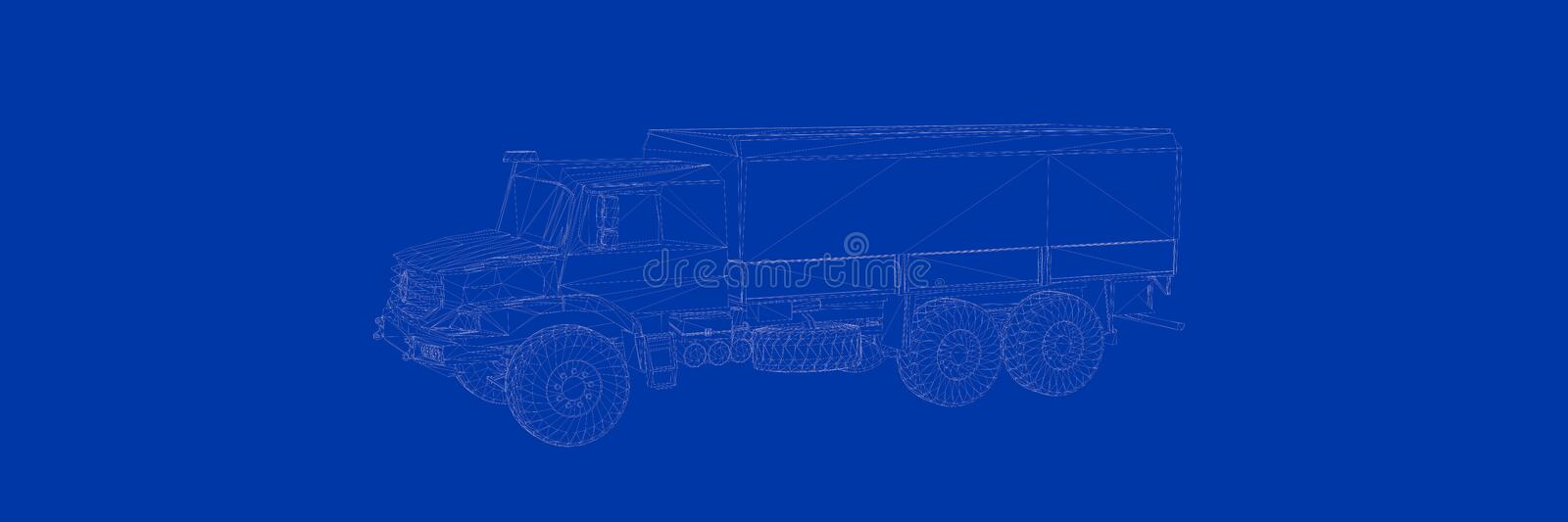 3d rendering of a truck on a blue background blueprint vector illustration