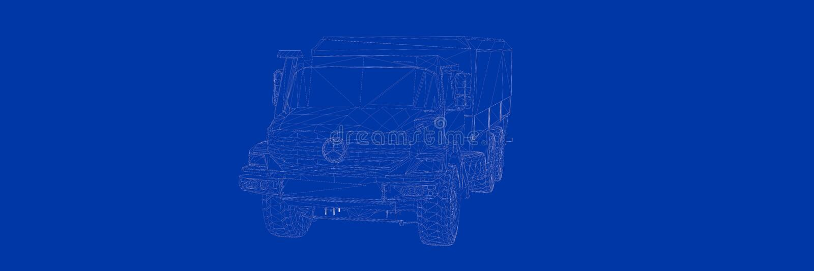 3d rendering of a truck on a blue background blueprint stock illustration