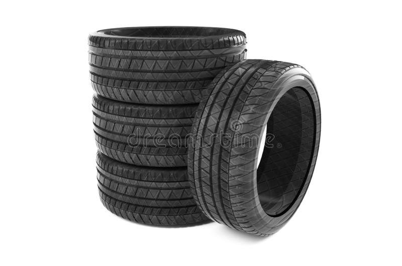 3D rendering truck tires on a white background royalty free illustration