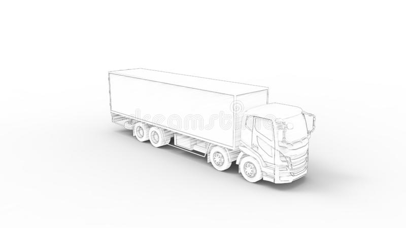 3D rendering of a truck with trailer isolated in white background stock illustration