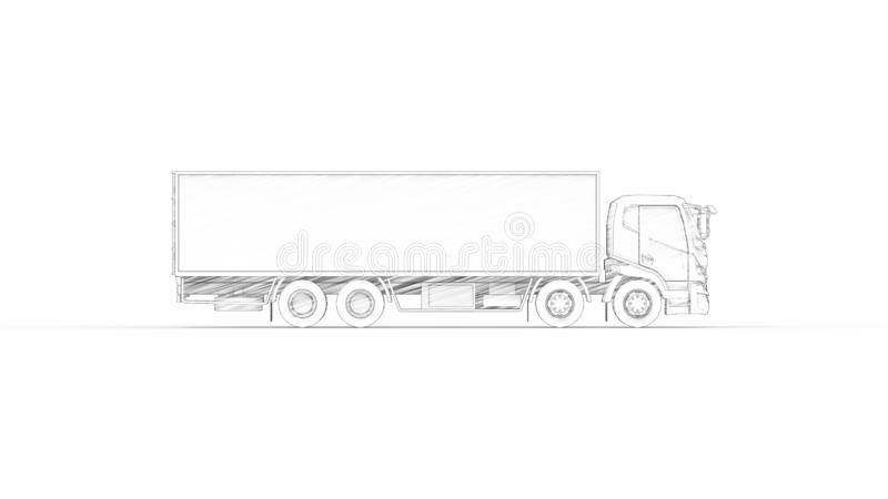3D rendering of a truck with trailer isolated in white background royalty free illustration