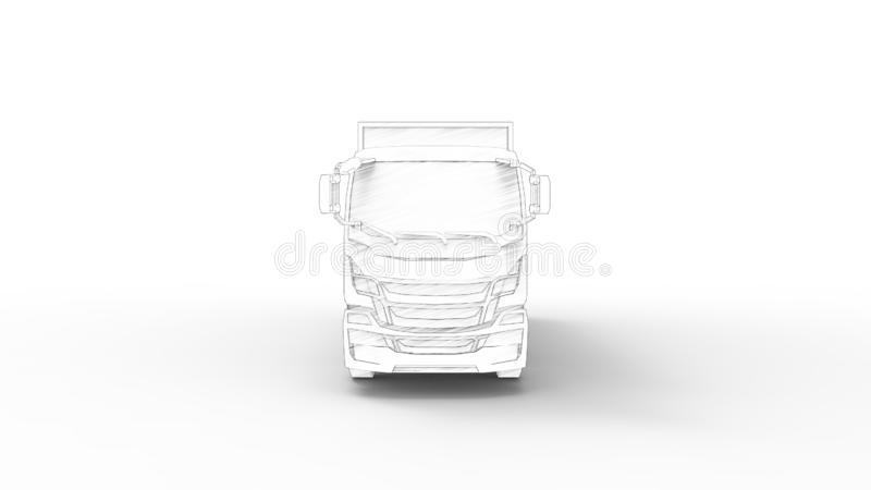 3D rendering of a truck with trailer isolated in white background vector illustration