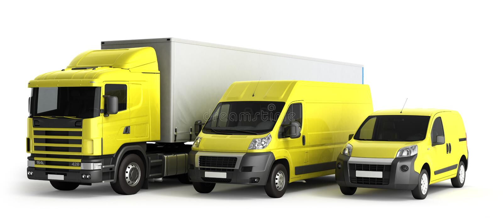 3D rendering of a truck a van and a lorry against a white background stock illustration