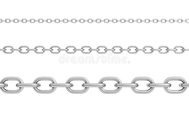 3d rendering trzy horizontally umieszczającego okrzesanego stalowego łańcuchu różny rozmiar z silnymi połączeniami ilustracja wektor