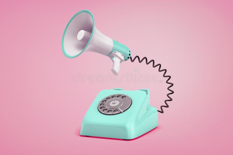 3d rendering of turquoise retro phone with a dial stands on a pink background connected to a megaphone by a black cord. royalty free illustration