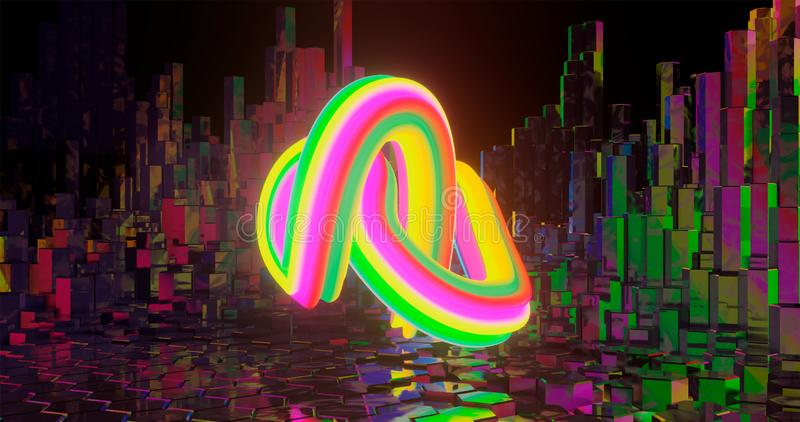 3d rendering. Twisted torus with various-colored diagonal stripes against the background of hex posts. Graphic illustration for royalty free illustration