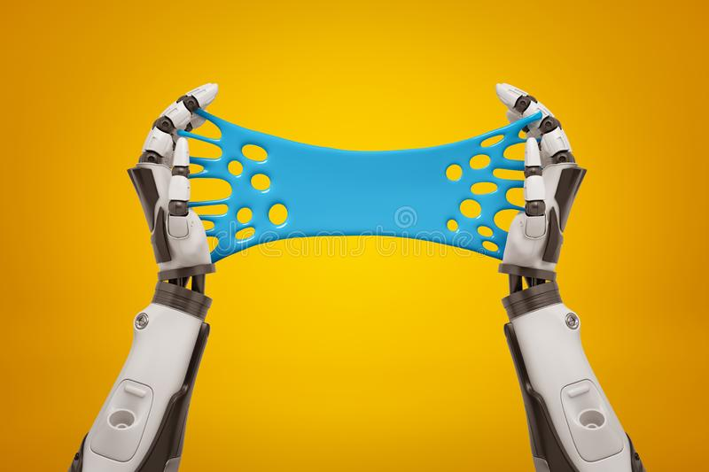 3d rendering of two black and white robot`s hands holding blue sticky slime banner on yellow background. vector illustration