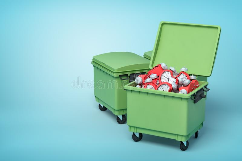 3d rendering of two green trash cans, front can open and full of broken and bent red alarm clocks, on light-blue royalty free illustration