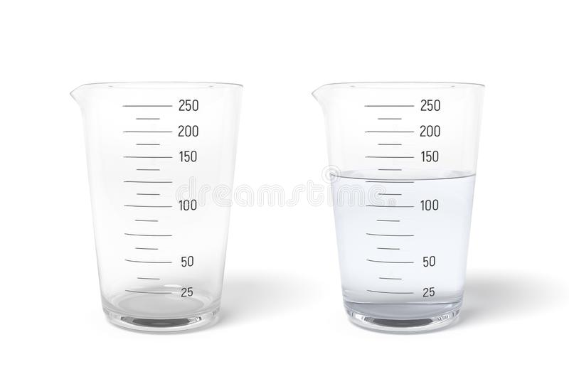 3d rendering of two measuring cups one half filled with transparent liquid isolated on white background stock illustration