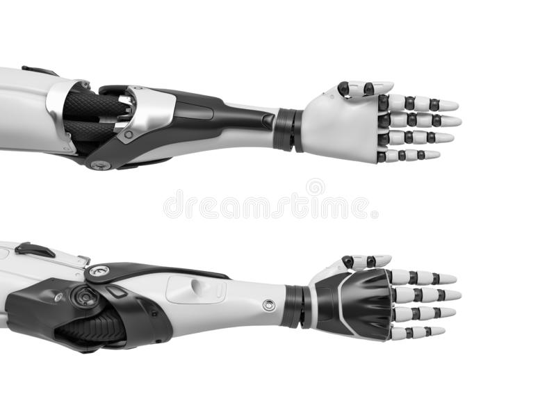 3d rendering of two robot arms with hand fingers held straight and compact for a tight handshake. stock image