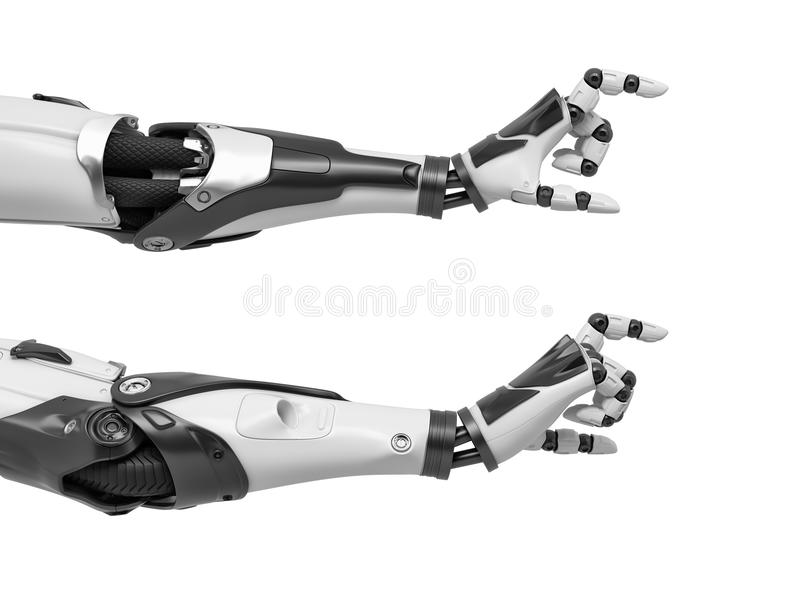 3d rendering of two robot arms with hand thumb and index finger at a distance between each other like for measuring. vector illustration