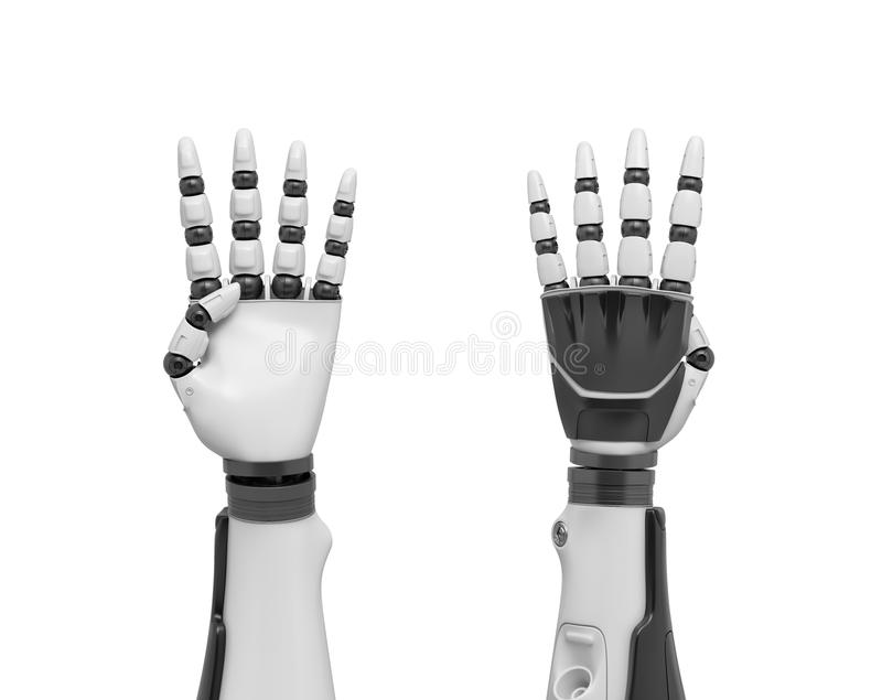 3d rendering of two robotic arms with all fingers sticking out except the thumb. vector illustration
