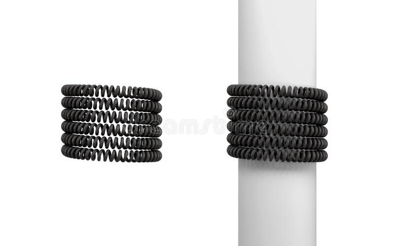 3d rendering of two sets of black curled sets of phone cables carefully wrapped around empty space and a post. stock illustration