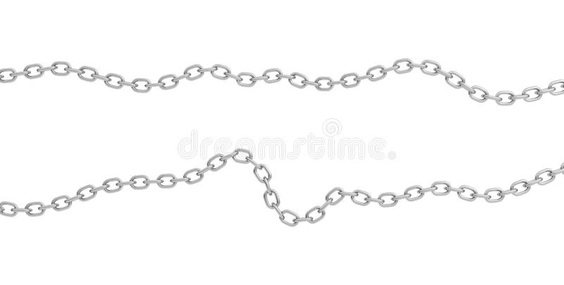 3d rendering of two strips of polished steel chains lying curled on a white background. vector illustration