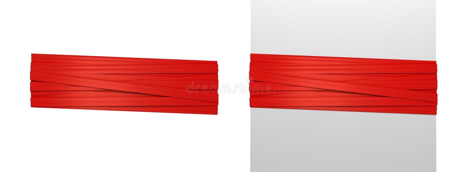 3d rendering of two wide red strips of gift ribbon tied around a white post and around empty space. stock illustration