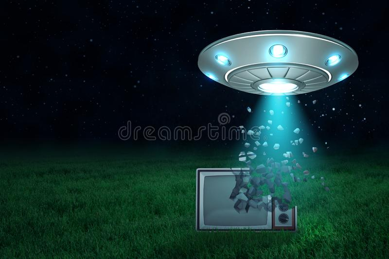 3d rendering of UFO in air at night with light coming out of its open hatch onto old TV set starting to dissolve into. Particles on green lawn. Old replaces new stock illustration