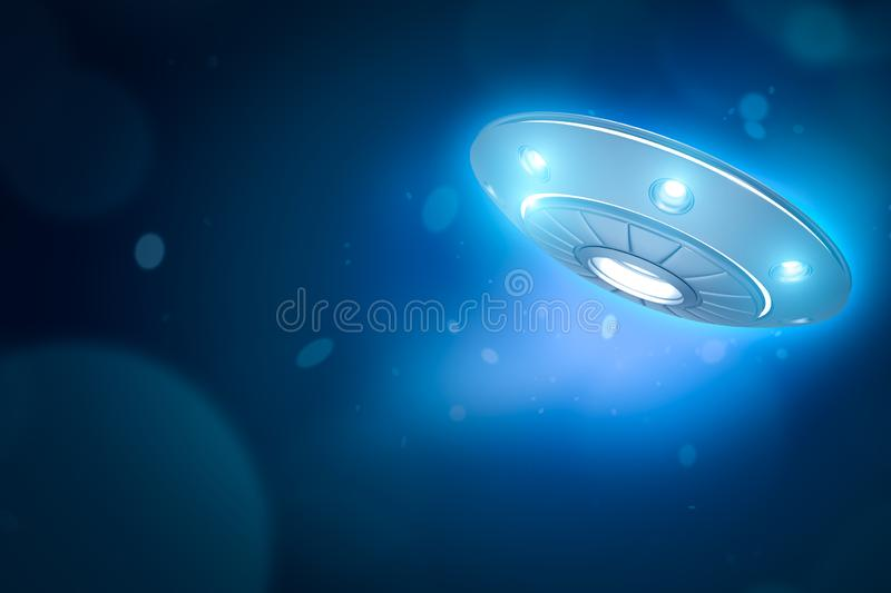 3d rendering of UFO with glowing lights on blue bokeh background with copy space. Ufology. Mysteries and puzzles. `Out-of-this-world` discounts royalty free stock images