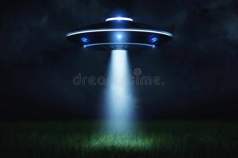 3d rendering of a UFO at night with a beam of light coming out of the hatch and lighting a landing point in the green. Grass. Visit from another planet stock illustration