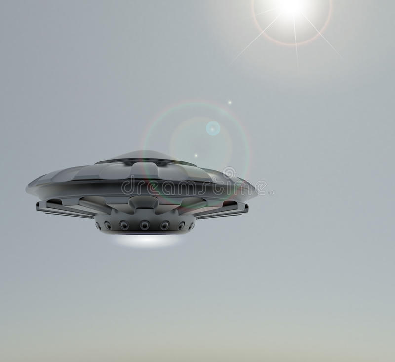 3D rendering UFO.The spacecraft against the sky . royalty free illustration