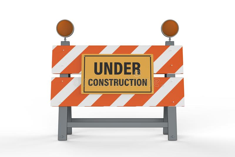 Construction sign with road block. 3d rendering under construction sign with road block on white background royalty free illustration