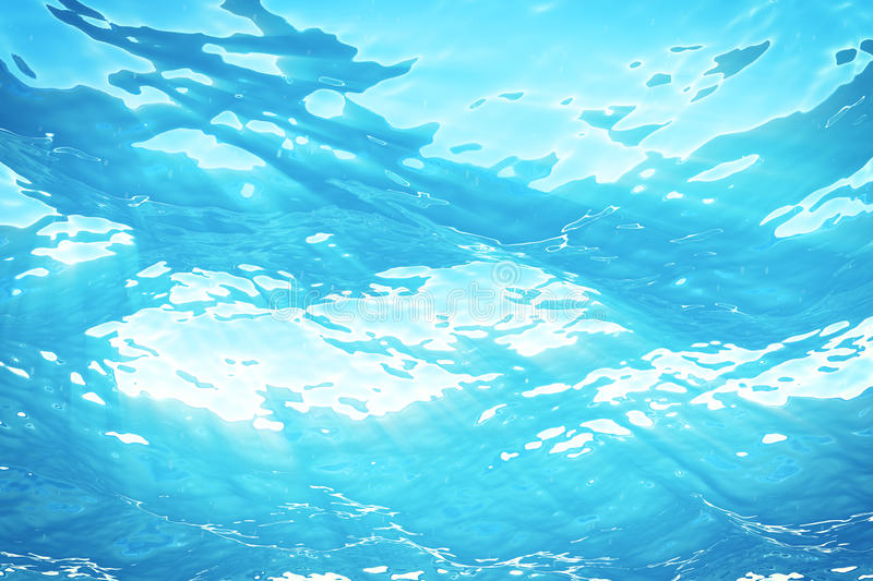 3d rendering underwater sea, ocean surface with light rays, high resolution royalty free illustration