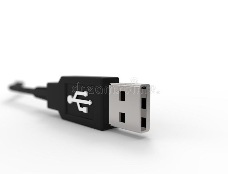3D rendering of a USB cable plug isolated on white background. 3D rendering of a USB cable plug isolated on white studio background stock illustration