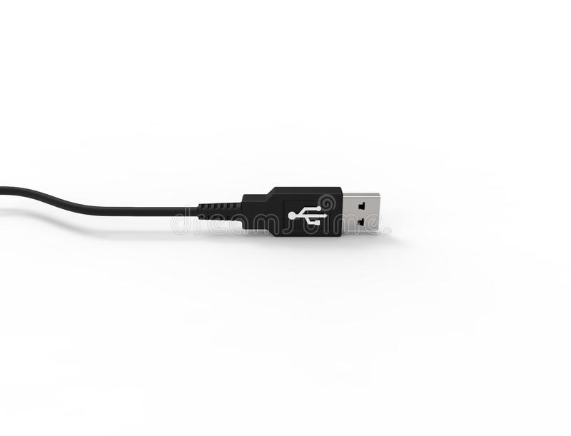3D rendering of a USB cable plug isolated on white background. 3D rendering of a USB cable plug isolated on white studio background royalty free illustration