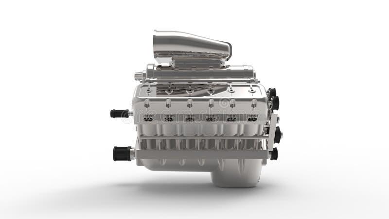 3d rendering v12 silnik odizolowywający w białym tle ilustracja wektor
