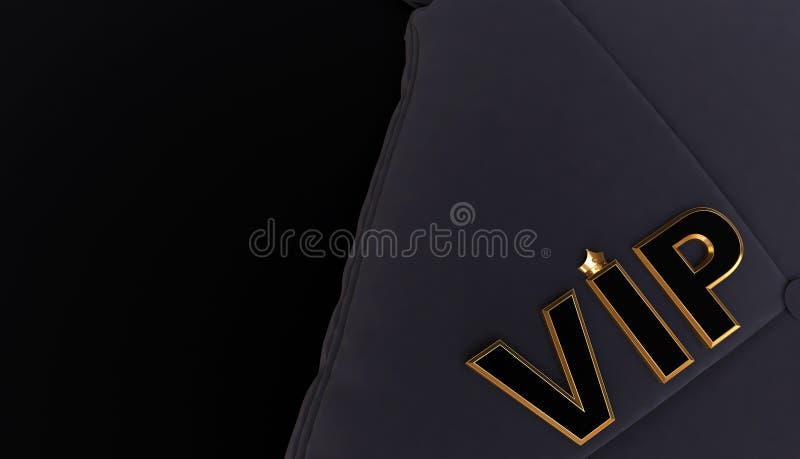 3D rendering van Golden VIP Crown, Royal Gold VIP kroon op kussen, royalty-vrije illustratie