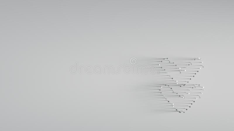 3D rendering of various metal nails in shape of double down angle royalty free illustration