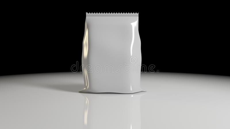 3d rendering of Vertical Sealed Empty Plastic Foil Bag for Package Design with Serrated Edge Close up Isolated on black Background. 3d rendering of Vertical stock illustration