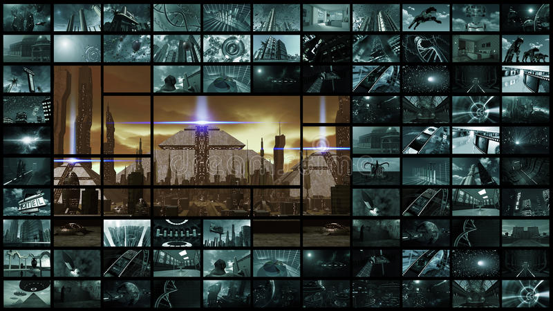 3d rendering. Video wall with futuristic ancient city vector illustration