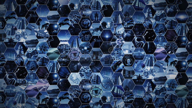3d rendering. Video wall futuristic in honeycomb pattern stock image